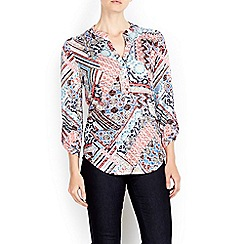 Wallis - Red tile mosaic printed shirt