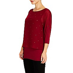 Wallis - Red scatter embellished overlay top