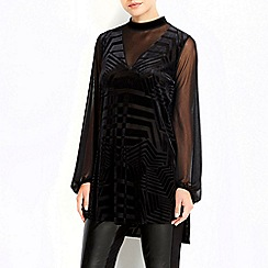 Wallis - Black velvet sheer high neck tunic