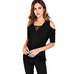 Wallis - Black lace cold shoulder top
