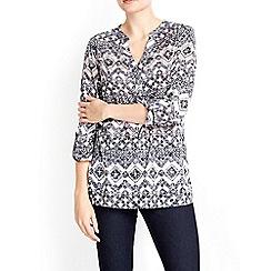 Wallis - Stone printed longline shirt
