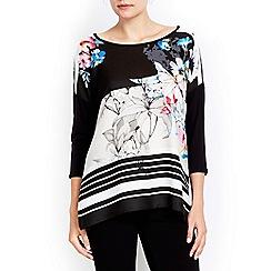 Wallis - Black stripe floral top
