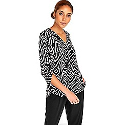 Wallis - Mono Zebra Zip Shirt