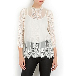 Wallis - Ivory high neck lace shell top