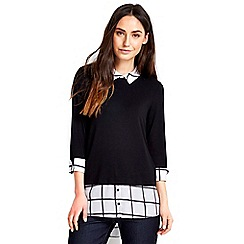Wallis - Black check 2in1 top
