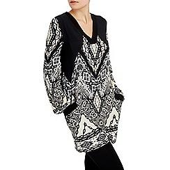Wallis - Black printed blouson sleeve top