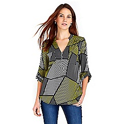 Wallis - Lime puzzle stripe zip shirt