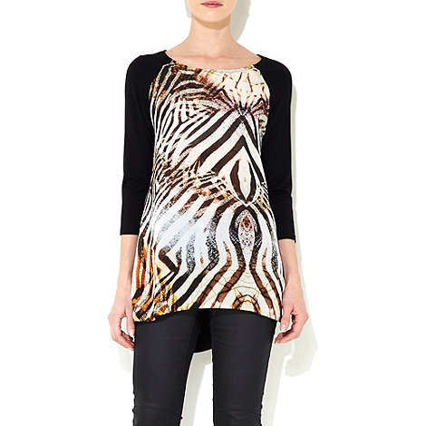 Wallis - Black animal print top