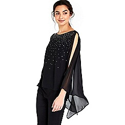 Wallis - Black heavy embellished top
