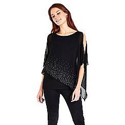 Wallis - Black embellished layered top