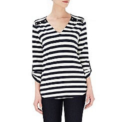 Wallis - Black v-neck stripe top