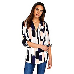 Wallis - Navy geometric print shirt