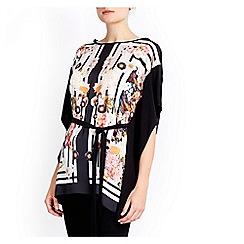 Wallis - Floral printed woven front kimono