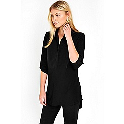 Wallis - Black longline mix shirt
