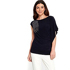 Wallis - Navy blue embellished top