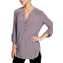 Wallis - Plain grey studded shirt