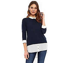 Wallis - Navy layered top
