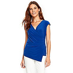 Wallis - Blue cap sleeve wrap top