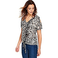 Wallis - Animal tie front top