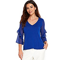Wallis - Blue ruffle sleeves top