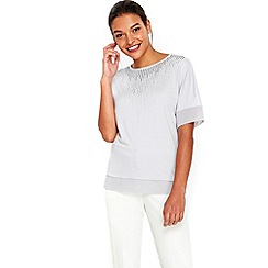 Wallis - Grey sparkle embellished top