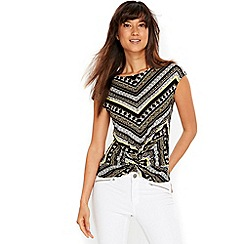 Wallis - Green printed twist front top