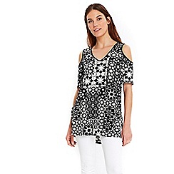 Wallis - Black cold shoulder tile print top