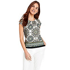 Wallis - Green printed shell top