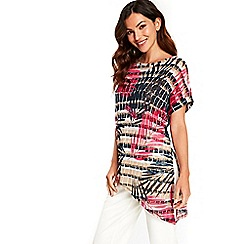 Wallis - Coral palm printed knitted top