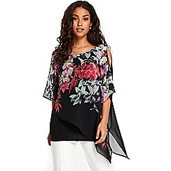 Wallis - Black floral neck overlayer top