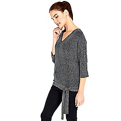 Wallis - Silver sparkle side tie top