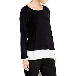 Wallis - Black collarless chiffon shirt