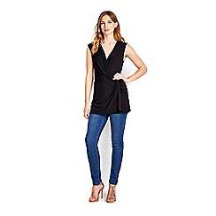 Wallis - Black sleeveless knot front top