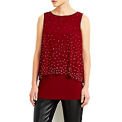 Wallis - Double layer berry studded vest top