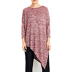 Wallis - Red asymmetric jersey top