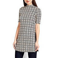 Wallis - Stone printed split side tunic top