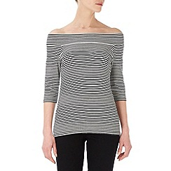 Wallis - Monochrome striped off the shoulder top