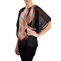 Wallis - Stone floral overlay top