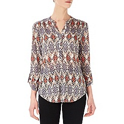 Wallis - Neutral and orange aztec print shirt