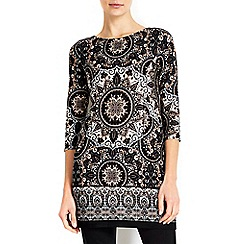 Wallis - Black printed pocket tunic top