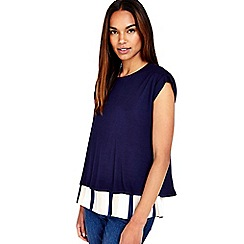 Wallis - Navy striped layered top