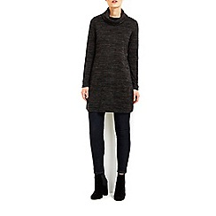 Wallis - Charocal boxy cowl neck split side tunic