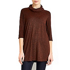 Wallis - Bronze lace up high neck tunic