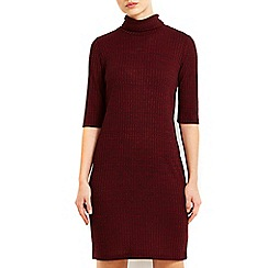 Wallis - Wine ribbed cowl neck top