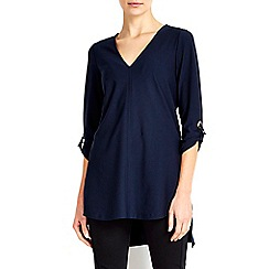 Wallis - Navy crepe v-neck tunic top