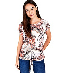 Wallis - Palm printed tie front top