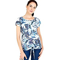 Wallis - Blue palm printed tie front top