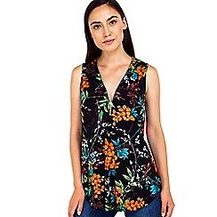 Wallis - Floral oriental zip front top