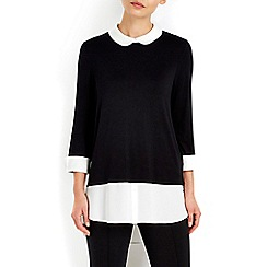 Wallis - Black shirt hem detail top