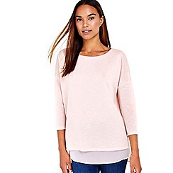 Wallis - Blush chiffon knitted top